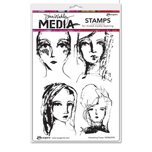 Dina Wakley Media Cling Stamps - Interesting Faces