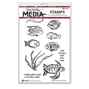 Dina Wakley Media Cling Stamps - Scribbly Fishies