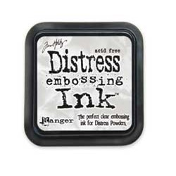 Distress embossing ink . Clear