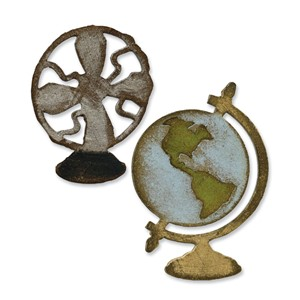 Movers & S  Die Set 2PK - Vintage Fan & Globe - UTGÅR