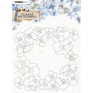 SL Clear Stamp background Celebrate new beginnings 150x150mm