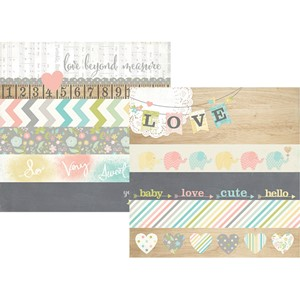 Hello Baby - 2x12 Borders & 4x12 Title Strip Elements, 25 ar