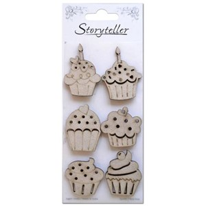 Chipboardfigurer - Cupcakes, 6 stk